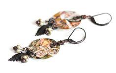Leaf Earrings Tin Earrings Rustic Earrings by MusingTreeStudios, $18.99