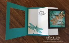 creatingwithcolleen.stampinup.net, Stampin' Up!, dragonfly dreams, Butterfly Basics, copper foil paper, serene scenery designer paper stack, special fold,