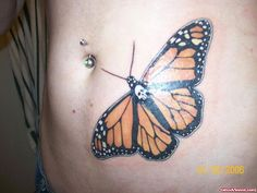 Colored Butterfly Tattoo On Left Hip | Tattoo Viewer.com