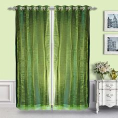 Just Linen 2 in 1 Poly Dupion Emerald Green Eyelet Door Curtain - The finest poly dupion is used to craft this compelling eyelet door curtain from Just Linen. This 2 in 1 marvel comes in a wonderful emerald green color that will floor you instantly!