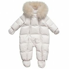 Dior Baby Girls Pink Down Padded Snowsuit at Childrensalon.com