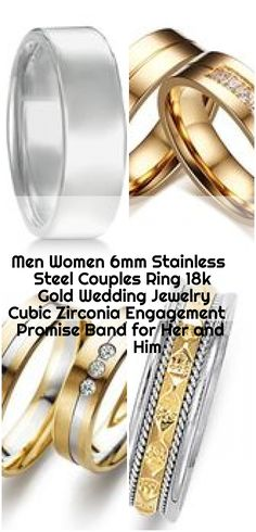 Men Women Stainless Steel Couples Ring Gold Wedding Jewelry Cubic Zirconia Engagement Promise Band for Her and Him , Men Women Stainless Steel Couples Ring Gold Wedding Jewelry Cu - InnovatoDesign. Gold Wedding Jewelry, Gold Jewelry, Promise Band, Platinum Wedding, Couple Rings, 18k Gold, Wedding Bands, Gold Rings, Stainless Steel