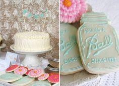 "So Sweet, 90th Birthday Party... Mason Jar Cookies read, ""Having a Ball since 1922"""