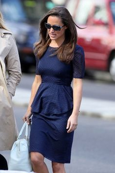 Pippa Middleton Day Dress - Pippa's style just keeps getting prettier! Check out this lovely navy Swiss dot peplum dress.