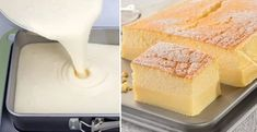 Sunny: A recipe for a magical cake. You make one mass, and she will split into two when baking! Sweet Desserts, Sweet Recipes, Yummy Snacks, Yummy Food, Czech Recipes, Mini Cheesecakes, Desert Recipes, Food Hacks, A Table