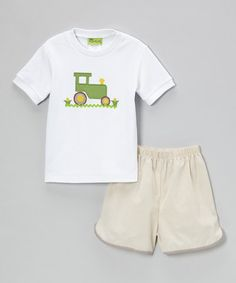 Look at this #zulilyfind! White Tractor Tee & Khaki Gingham Shorts - Infant, Toddler & Boys #zulilyfinds