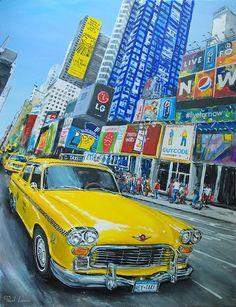 A découvrir au 8ème Salon de Peinture toutes techniques en ligne sur www.myrankart.com  Checker Cab by Pascal Lenoble