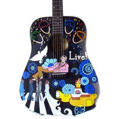 Painted guitar  Father's Day Custom handpainted by laMarmotaCafe,