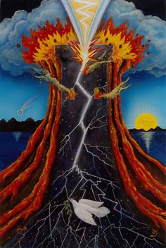 The Star Tarot - Cathy McClelland - This is a deck in progress. The Majors have been completed and the Minors are in process. One of the most exciting and beautiful decks I have seen. This is The Tower.