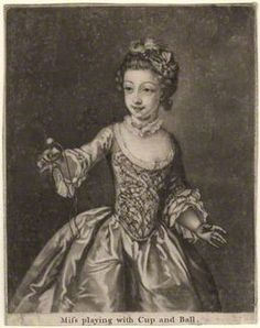 Charlotte Mercier ('Miss playing with Cup and Ball') mid 18th century    after Philip Mercier  mezzotint, 1740s-1750s