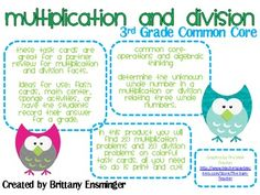 Common Core- Multiplication and Division Task Cards Grade) Common Core Multiplication, Multiplication And Division, Common Core Math, Love Math, Fun Math, Math Resources, Math Activities, Math School, Fourth Grade Math