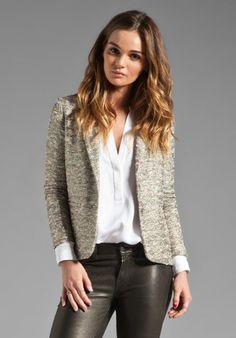 ELKIN Stellar Tweed Lady Blazer in Metallic Silver