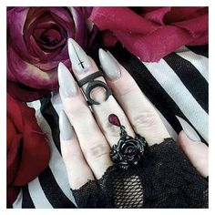Gothic nails ❤ liked on Polyvore featuring beauty products and nail care