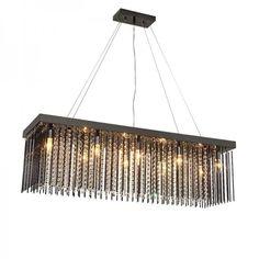 Rectangular black glass pendant lights for Dining room Cafe Bar Crystal hanging Lamp home lighting Led fixtures Modern lustre