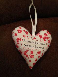 Friend heart, Friend gift, padded heart, by AndiesAccessoriesUK on Etsy