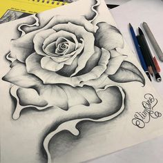 - Best Picture For Piercing unusual For Your Taste You are looking for something, and it is going t - Rose Drawing Tattoo, Doodle Art Drawing, Pencil Art Drawings, Art Drawings Sketches, Tattoo Drawings, Badass Drawings, Chicano Drawings, Rose Tattoos, Flower Tattoos