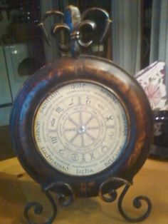 Wheel of the Year photo inserted into an old clock.