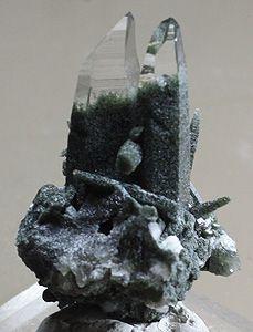 Chlorite included Quartz crystals Mount Ganesh, Nepal