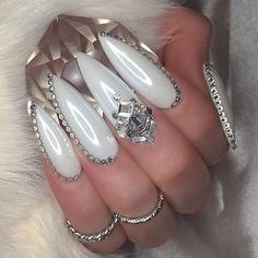 Love this white look!   Stiletto nail art designs