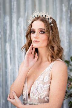 Nov 19, 2019 - Iliana    Silver leaves and Sapphire Bridal Halo   Iliana is a stunning, contemporary hair accessory for the modern bride. The contrast of sapphire Swarovski crystals against silver is a truly breath-taking combination, and works to add a bit of edge to a more romantic gown.   #moderntiara #moderncrown #modernbride #contemporarybride #contemporarytiara #weddinghalo #bridalhalo #weddingtiara #bridaltiara #tiara #gloriousbyheidi #dreamingspires Bridal Crown, Bridal Tiara, Easy Hairstyles, Wedding Hairstyles, Wedding Hair Accessories, Hair Accessory, Contemporary, Modern, Headpiece