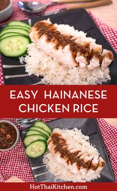 Easy Hainanese Chicken Rice (Kao Mun Gai) Recipe & Video This recipe turns a Hainanese Chicken Rice Recipe, Chicken Rice Recipes, Cooking With Ginger, Hainan Chicken, Sauce For Rice, Easy Chinese Recipes, Japanese Recipes, Thai Street Food, Quick Weeknight Meals