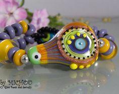 Blue Lagoon Coral Garden Art Glass Bracelet made door MichouJewelry