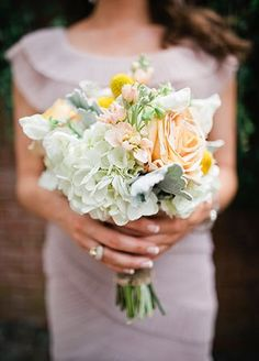 Pastel Dusty Miller and Hydrangea Bouquet | Millie Holloman Photography | blog.theknot.com