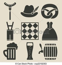 Vector - Oktoberfest beer festival icons set - stock illustration, royalty free illustrations, stock clip art icon, stock clipart icons, logo, line art, EPS picture, pictures, graphic, graphics, drawing, drawings, vector image, artwork, EPS vector art