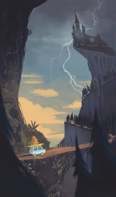 Summer Vacation by Mary Jane Whiting, via Behance - art style Art And Illustration, Animal Illustrations, Illustrations Posters, Animation Background, Environment Design, 2d Art, Environmental Art, Landscape Art, Game Art