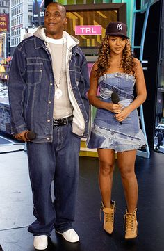 Beyonce & Jay Z Before Marriage Crazy In Love Bonnie & Clyde Couples Denim Fashion Style Hair Inspiration Beautiful Famous Celebrity Black Women