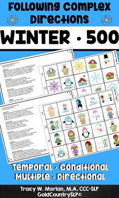 500 Winter-themed directions! Temporal, directional, multiple, conditional, ordinal! #winterthemedtherapy