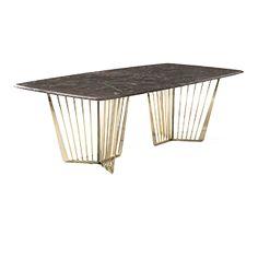 La particolarità del basamento in metallo e il piano in marmo con un raffinato intarsio in metallo rendono questo modello estremamente leggero ed elegante ...