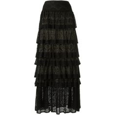 Cecilia Prado ruffled maxi skirt (4,635 MXN) ❤ liked on Polyvore featuring skirts, black, layered skirt, long ruffle skirt, layered ruffle skirt, flounce skirt and long layered skirt