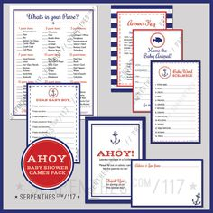AHOY  // Baby Shower Games Package by Line117 on Etsy, $20.00