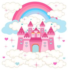 Princess Castle Rainbow Pink Blue Clouds Stars Hearts Wall Mural Stickers Decals | eBay