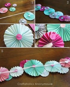 Craftaholics Anonymous® Paper Fan Garland Tutorial is part of Diy party decorations - I wanted to add some color to my bedroom this summer, so I made this Summer Fan Garland I adore it These paper fans are one of my very favorite crafts Diy Party Decorations, Baby Shower Decorations, Birthday Decorations, Hanging Paper Decorations, Pinwheel Decorations, Paper Rosettes, Paper Flowers, Paper Garlands, Paper Streamers