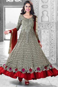 Georgette Maroon, Grey Anarkali Party wear Salwar Suit