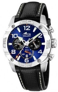 Relógio Lotus Men's CRONO L15644/2 Black Leather Quartz Watch with Blue Dial #Relógio #Lotus