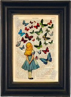 Alice Watching Butterflies mixed media Print on upcycled Vintage Page Book Art or Encyclopedia Page Christmas Gift Idea on Etsy, $8.00
