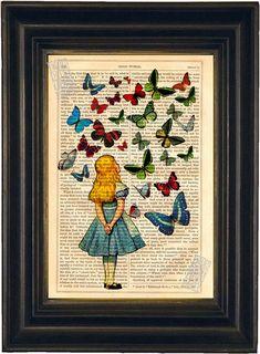 Papillons de regarder Alice mixed médias par ForgottenPages sur Etsy