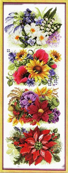 Four Flowers 1 Cross Stitch Samplers, Cross Stitching, Cross Stitch Patterns, Hand Embroidery Patterns, Cross Stitch Flowers, Needle And Thread, Four Seasons, Needlework, Floral Wreath