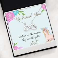 This necklace is a heartfelt gift to show your mother how much she means to you. The necklace is available is silver and gold with prices starting at $39.95. The message card says: mothers are like unicorns, they make life sparkle. #unicornmomnecklace #uniquegiftformom #womanunicorngift Unicorn Mom, Unicorn Gifts, Unique Necklaces, Beautiful Necklaces, Unique Gifts For Mom, Message Card, Unicorns, Mothers, Law
