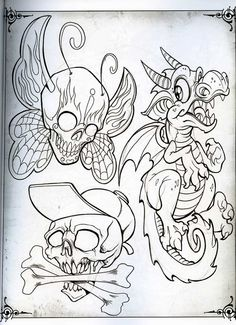 Don't care for the dragon but the others ain't too bad Tattoo Design Drawings, Skull Tattoo Design, Skull Tattoos, Tattoo Sketches, Art Sketches, Art Drawings, Tattoo Designs, 1 Tattoo, Tattoo Outline