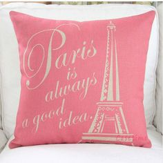Pink Paris Pink Eiffel Tower cotton linen pillowcase- car cushion- decorative pillow cover - outdoor cushion on Etsy, $12.99