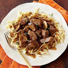 Steak Tips with Peppered Mushroom Gravy | Briefly cooking the gravy with thyme sprigs saves the time of stripping the tiny leaves from the stem, but still gives you the herb's woodsy flavor in this steak recipe. Serve over pasta, as instructed.