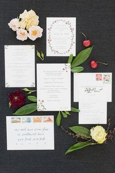 Lisa + Joe's minimal, modern, botanical wedding invitation suite | One and Only Paper Custom Wedding Invitations