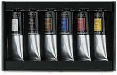 Sennelier Extra-Fine Artist Acryliques  Primary Set:  includes six, 60 ml tubes of paint, including Titanium White, Raw Sienna, Primary Cyan, Primary Yellow, Primary Red, and Ivory Black.