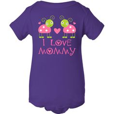 Cute pink hearts and ladybugs with I Love Mommy quote on girls Infant Creeper gift.  Your little girl will look so sweet and will love these spotted bugs to wear.  Fun Mother's Day gift for the new mom with a little girl. $16.99 www.homewiseshopperkids.com #ILoveMommy #MothersDay #babyapparel