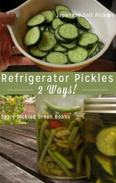 Refrigerator Pickles: Japanese Salt Pickles + Spicy Pickled Green Beans - If you're new to pickling, refrigerator pickles are a great way to start. No hot water bath - just delicious pickles! Delicious Vegan Recipes, Raw Food Recipes, Veggie Recipes, Healthy Recipes, Vegan Food, Eating Vegan, Canning Recipes, Vegetarian Recipes, Healthy Food