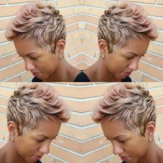 "STYLIST FEATURE| Love this #pixiecut ✂️ styled by #JacksonvilleStyist @Mrsladypriester Blonde with a hint of pink #VoiceOfHair ========================== Go to VoiceOfHair.com ========================== Free eBook, ""Let Your Hair Speak for Itself"" for more hair inspiration =========================="